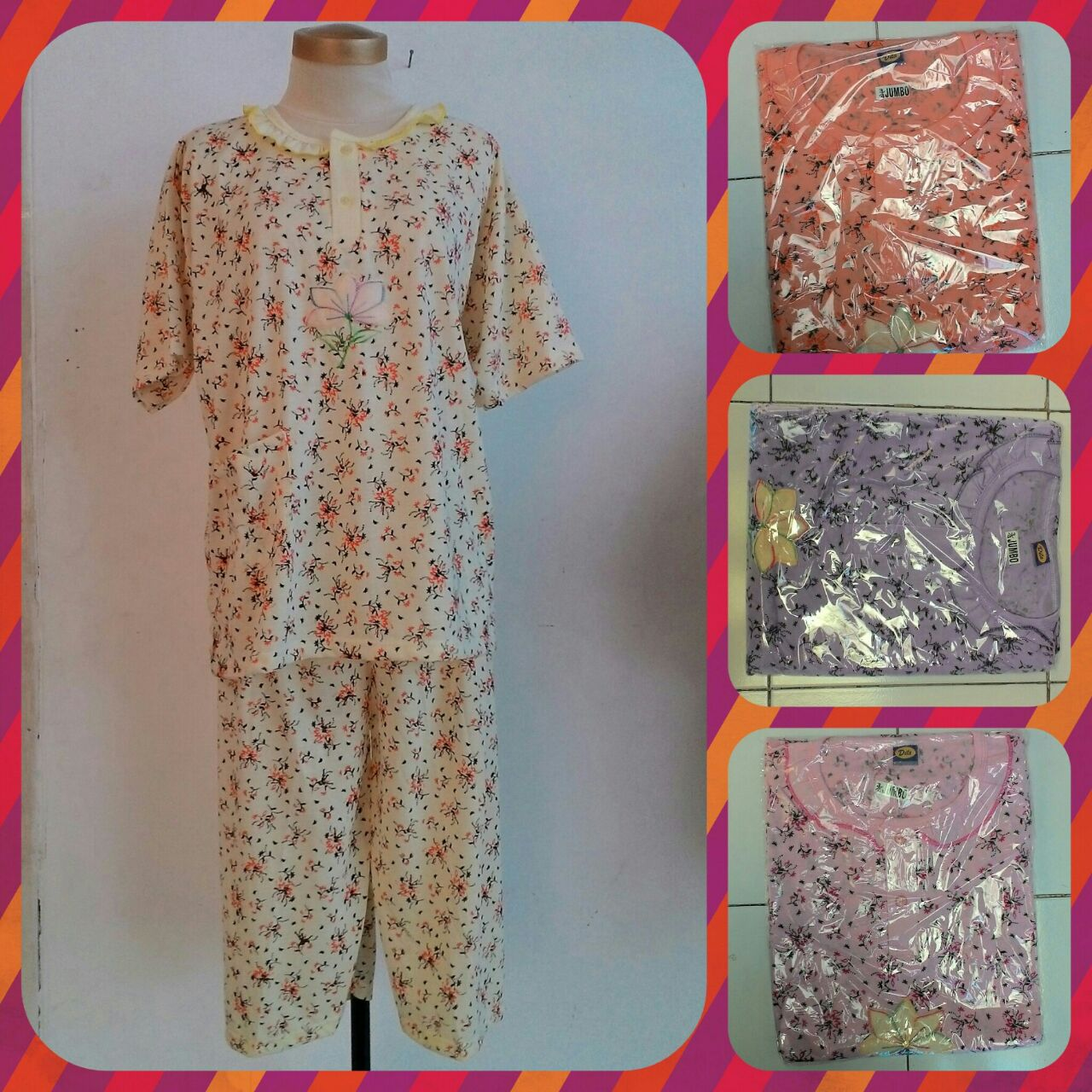 Pusat Grosiran Baju Tidur Katun Dewasa 3 4 Jumbo Murah