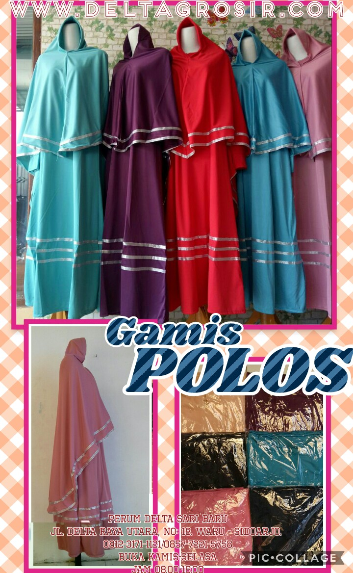 Supplier Gamis Jersey Polos Dewasa Murah Surabaya 64Ribu