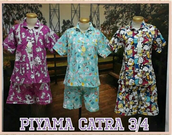 Supplier Piyama Katun Catra Dewasa 3/4 Murah Surabaya 55 Ribu