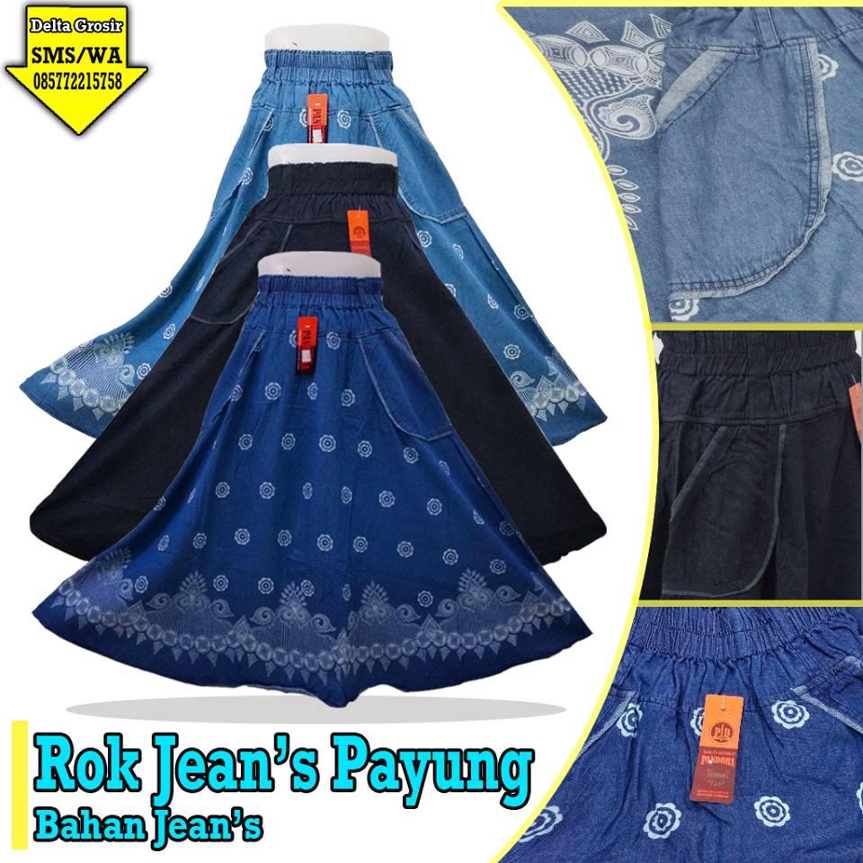 Pusat Kulakan Rok Jeans Payung Dewasa Murah 68ribuan